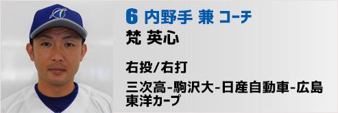 6番 梵内野手兼コーチ